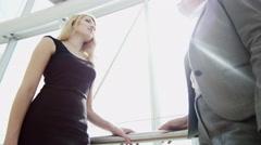 handshake female Russian Spanish city business real estate property development - stock footage