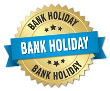 Stock Illustration of bank holiday 3d gold badge with blue ribbon