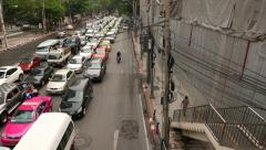 Long elevated slide shot over city traffic jam, perspective view Stock Footage