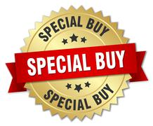 Stock Illustration of special buy 3d gold badge with red ribbon