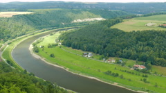 The Elbe river. View from the Konigstein Fortress. Saxon Switzerland, Germany Stock Footage