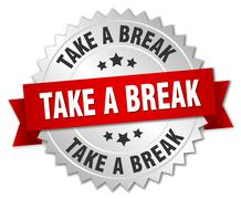 Stock Illustration of take a break 3d silver badge with red ribbon