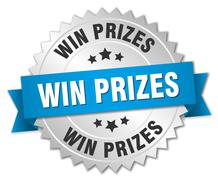 Win prizes 3d silver badge with blue ribbon Stock Illustration
