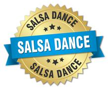 salsa dance 3d gold badge with blue ribbon - stock illustration