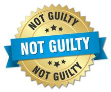 not guilty 3d gold badge with blue ribbon - stock illustration