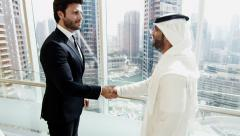 handshake American Arabic business male conference convention meeting travel - stock footage