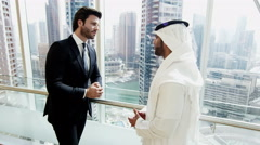 business male traveller Western Caucasian Arabic global banking trader finance - stock footage