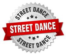 street dance 3d silver badge with red ribbon - stock illustration