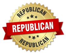 Republican 3d gold badge with red ribbon Stock Illustration