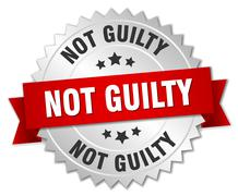 not guilty 3d silver badge with red ribbon - stock illustration