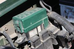 The fuse box under the hood in the car - stock photo