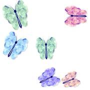 Abstract rainbow colored butterflies pattern on white Stock Illustration