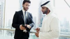 Middle Eastern American business male technology tablet real estate development Stock Footage