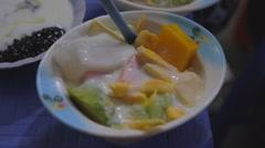 Vietnamese fruit salad and yoghurt Stock Footage