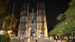 St. Joseph's Cathedral hanoi - night Stock Footage