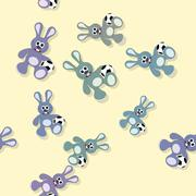 Seamless colored bunny pattern with ball on yellow Stock Illustration