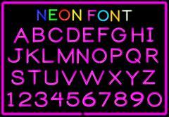 Neon letters Stock Illustration
