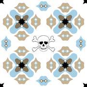 Seamless ornate pattern with skull design Stock Illustration