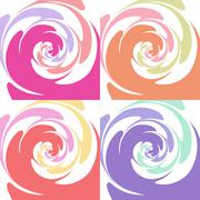 Set of colored abstract twisted textures - stock illustration