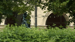Statue in front of the Deutsches Theatermuseum in Munich Stock Footage