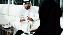 business male female Arab teamwork Dubai real estate finance banking wealth - stock footage