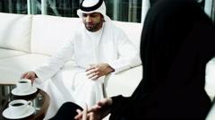 Dubai Arabic business male female city stocks shares economy export industry Stock Footage