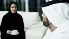 male female Emirati lifestyle coffee social tourism international traveller - stock footage