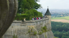 Walls of the Konigstein fortress, Saxon Switzerland, Germany Stock Footage