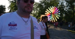 Kite Parade on The International Festival in Leba, Poland. People walking Stock Footage