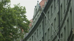 Old curved building on Augustinerstrasse, Munich Stock Footage