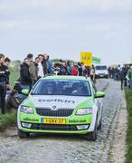 The Car of BelkinTeam on the Roads of Paris Roubaix 2014 - stock photo
