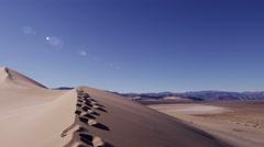 Desert Landscape Continent sun flare sand drought traveller - stock footage