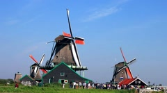 Classic Dutch windmill at Famous tourist location of Zaanse Schans - stock footage