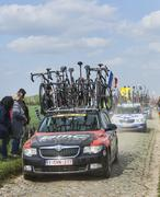 The Car of BMC Racing Team on the Roads of Paris Roubaix 2014 - stock photo
