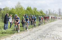 The Peloton on a Cobblestoned Road - Paris-Roubaix 2014 Stock Photos