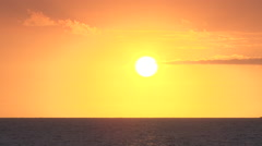 Orange Sky Sun Over Ocean Stock Footage