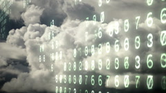 Changing computer electronic numbers over an ominous churning cloudscape. Stock Footage