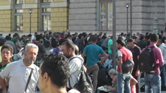 Syrian Migrants at the Eastern Railway Station in Budapest Hungary 3 Stock Footage