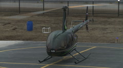 View of modern helicopter with rotating airscrew Stock Footage
