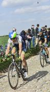 Two Cyclists on Paris Roubaix 2014 - stock photo