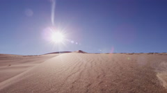 Traveller climber desert female sun adventure footprint Stock Footage