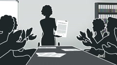 Cartoon Corporate / Girl Shows Contract Silhouette Stock Footage
