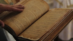 Old Russian Vintage Book Being Held and Looked Through Stock Footage