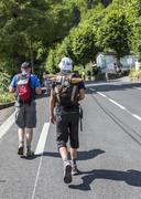 Bagneres-de-Bigore,France - 24 July 2014: Two unidentified spectators of le T - stock photo
