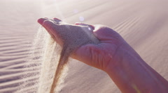 Stock Video Footage of Sand feelings hand life fingers woman