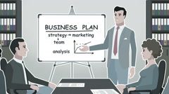 Cartoon Corporate / Man Presents Business Plan Stroke Stock Footage