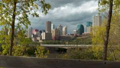 4K Tilt up to the skyline of the capital city Edmonton, Alberta Stock Footage