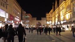 Munich Pedestrian Zone Stock Footage