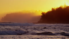 Hawaii sunset Pacific ocean surfing wave power tidal - stock footage