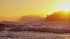 Hawaii sunrise Island Pacific water waves surf seascape travel Stock Footage